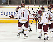 Patrick Brown (BC - 23), Chris Calnan (BC - 11), Teddy Doherty (BC - 4), Quinn Smith (BC - 27), Steven Santini (BC - 6) - The Boston College Eagles defeated the visiting St. Francis Xavier University X-Men 8-2 in an exhibition game on Sunday, October 6, 2013, at Kelley Rink in Conte Forum in Chestnut Hill, Massachusetts.