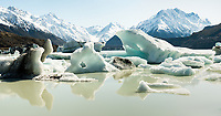 Icebergs with reflections on terminal Tasman Lake of Tasman Glacier, Aoraki, Mount Cook National Park, UNESCO World Heritage Area, Mackenzie Country, South Island, New Zealand, NZ