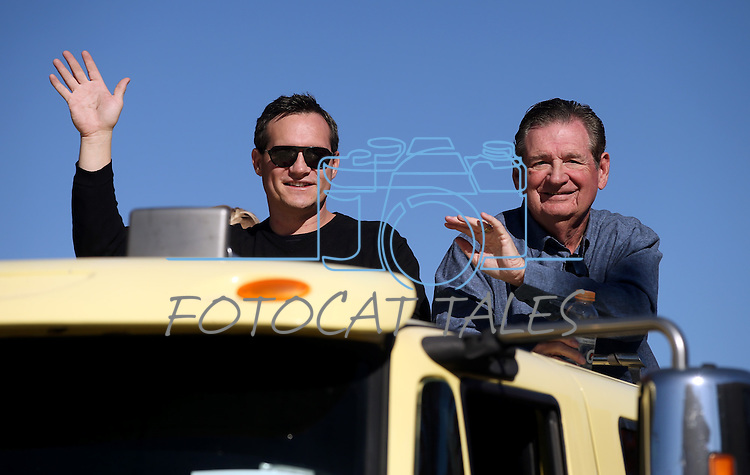 Nevada Secretary of State Ross Miller and his father, former Gov. Bob Miller, ride in the 75th annual Nevada Day parade in Carson City, Nev., on Saturday, Oct. 26, 2013.<br /> Photo by Cathleen Allison