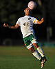 Marvin Contreras #4 of Westbury makes a header during a Nassau County Conference AA-3 boys soccer game against Plainview JFK at Westbury High School on Friday, Oct. 14, 2016. Plainview JFK won by a score of 1-0.
