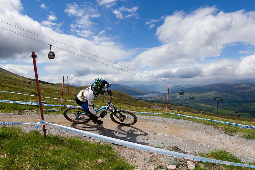 Danny Hart of Great Britain during practice for the Downhill event<br /> <br /> Photographer Craig Mercer/CameraSport<br /> <br /> UCI Mountain Bike World Cup - Friday 2nd June 2017 - Fort William - Scotland<br /> <br /> World Copyright &copy; 2017 CameraSport. All rights reserved. 43 Linden Ave. Countesthorpe. Leicester. England. LE8 5PG - Tel: +44 (0) 116 277 4147 - admin@camerasport.com - www.camerasport.com