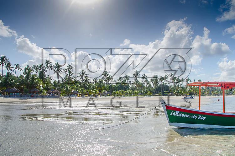 Coqueiros e barco na Praia dos Carneiros, Tamandaré - PE, 12/2012.