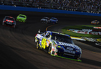 Nov. 9, 2008; Avondale, AZ, USA; NASCAR Sprint Cup Series driver Jimmie Johnson during the Checker Auto Parts 500 at Phoenix International Raceway. Mandatory Credit: Mark J. Rebilas-