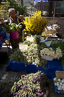 Weekly market in Alacati with herbs and wildflowers for sale, Turkey