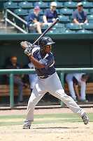 Pensacola Blue Wahoos first baseman Marquez Smith (21) in action during a game against the Jacksonville Suns at Bragan Field on the Baseball Grounds of Jacksonville on May 11, 2015 in Jacksonville, Florida. Jacksonville defeated Pensacola 5-4. (Robert Gurganus/Four Seam Images)