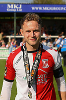Joshua Casey of Woking with winners medal during Woking vs Welling United, Vanarama National League South Promotion Play-Off Final Football at The Laithwaite Community Stadium on 12th May 2019