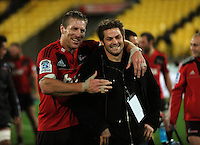 Brad Thorn and Richie McCaw after the win. Super 15 rugby match - Crusaders v Hurricanes at Westpac Stadium, Wellington, New Zealand on Saturday, 18 June 2011. Photo: Dave Lintott / lintottphoto.co.nz