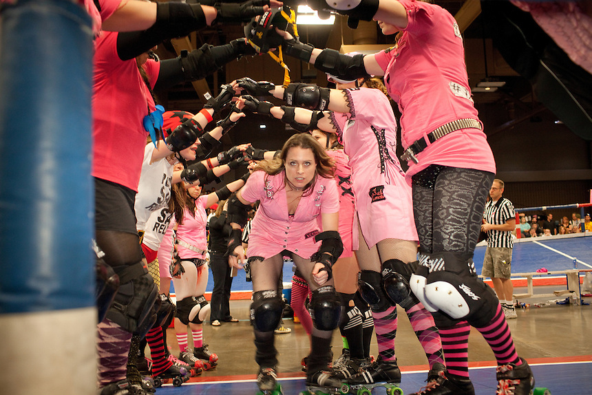 Dixie Sanchez, the captain of the Hellcats, gets ejected from their bout against Putas del Fuego at the Palmer Events Center in Austin, Texas.
