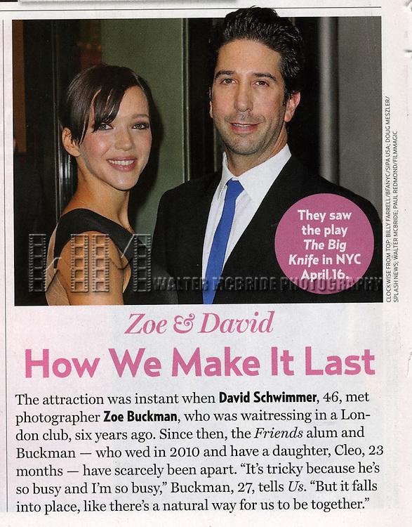 David Schwimmer and Zoe Buckman in US Magazine, May 2013