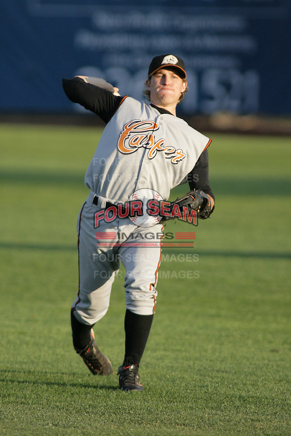 September 1, 2009: David Dinatale of the Casper Ghosts, Pioneer League Rookie Class A affiliate of the Colorado Rockies, during a game at the Orem Owlz Ballpark in Orem, UT.  Photo by:  Matthew Sauk/Four Seam Images