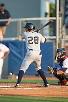 Wilkerman Garcia (28) of the Pulaski Yankees at bat against the Danville Braves at American Legion Post 325 Field on August 1, 2016 in Danville, Virginia.  The Yankees defeated the Braves 4-1.  (Brian Westerholt/Four Seam Images)