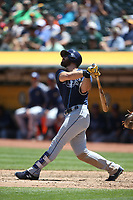OAKLAND, CA - JULY 19:  Evan Longoria #3 of the Tampa Bay Rays bats against the Oakland Athletics during the game at the Oakland Coliseum on Wednesday, July 19, 2017 in Oakland, California. (Photo by Brad Mangin)