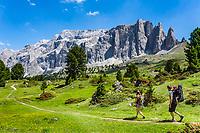 Italy, South Tyrol (Trentino - Alto Adige), Dolomites, near Selva di Val Gardena: hiking with Sella Group at Sella Pass Road | Italien, Suedtirol (Trentino - Alto Adige), oberhalb von Wolkenstein in Groeden: Wanderer vor der Sellagruppe an der Sella-Joch-Passstrasse