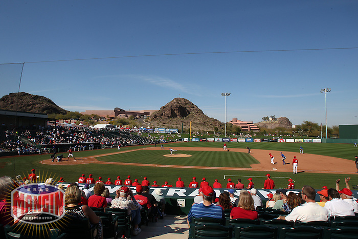 TEMPE, AZ - MARCH 03:  General overall scenic interior view of Tempe Diablo Stadium the spring training game between the Kansas City Royals and the Los Angeles Angels on March 3, 2011 at Tempe Diablo Stadium in Tempe, Arizona. Photo by Brad Mangin