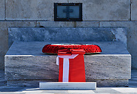 Pictured: The wreath left by Turkey President Recep Tayyip Erdogan at the Unknown Soldier Monument outside the Greek Parliament in Syntagma Square.<br /> Re: Turkey's president Recep Tayyip Erdogan has begun a landmark visit to Greece. Thursday 07 December 2017