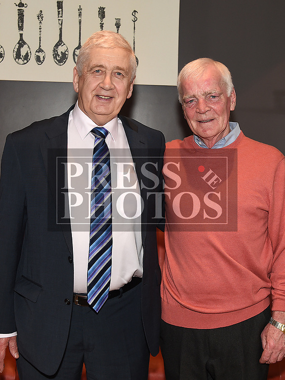 Noel Smokey Kierans at his retirment party in Brú with John Pentony. Photo:Colin Bell/pressphotos.ie