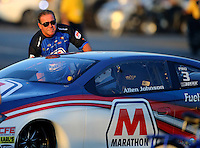 Feb 12, 2016; Pomona, CA, USA; NHRA pro stock driver Allen Johnson during qualifying for the Winternationals at Auto Club Raceway at Pomona. Mandatory Credit: Mark J. Rebilas-USA TODAY Sports