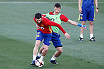 Spain's Nacho Fernandez (l) and Cesar Azpilicueta during training session. March 20,2017.(ALTERPHOTOS/Acero)