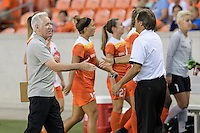 Houston, TX - Saturday Sept. 03, 2016: Tom Sermanni, Randy Waldrum prior to a regular season National Women's Soccer League (NWSL) match between the Houston Dash and the Orlando Pride at BBVA Compass Stadium.