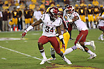 Jalen Thompson (34), Washington State cornerback, tracks a wide receiver during the Cougars Pac-12 Conference road victory over the Arizona State Sun Devils, 37-32, on October 22, 2016, at Sun Devil Stadium in Tempe, Arizona.