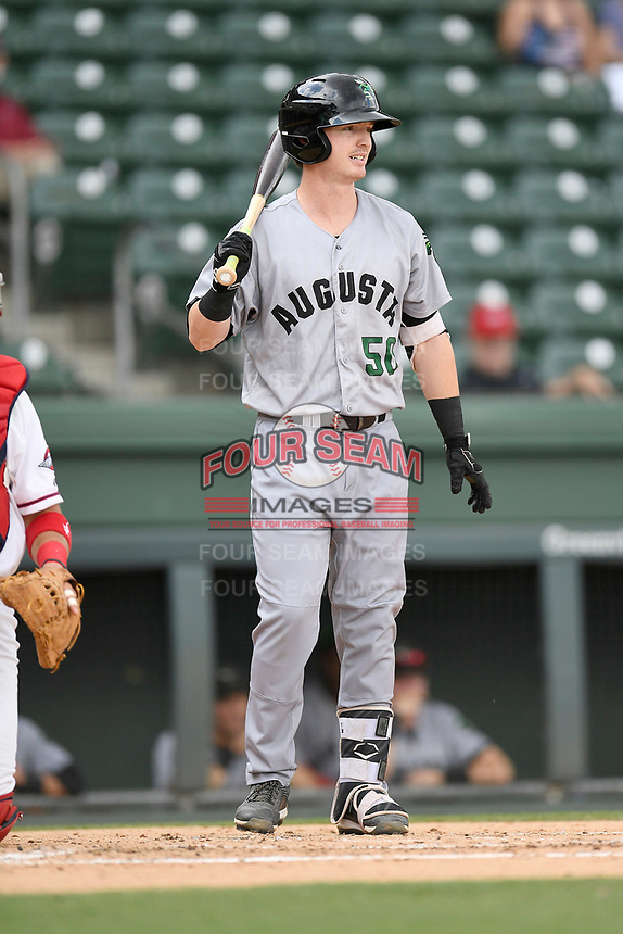 Second baseman Tyler Brown (50) of the Augusta GreenJackets bats in a game against the Greenville Drive on Thursday, May 17, 2018, at Fluor Field at the West End in Greenville, South Carolina. Augusta won, 2-1. (Tom Priddy/Four Seam Images)