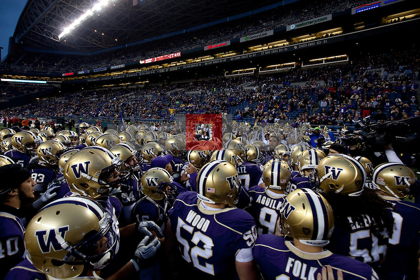 Helmets.The University of Washington beat Washington State University to win the 2011 Apple Cup 38-21 at Century Link Field in Seattle on Saturday November 26, 2011 (Photography By Scott Eklund/Red Box Pictures)