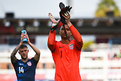 February 2nd 2019, San Jose, California, USA; USA goalkeeper Zack Steffen (1) and Paul Arriola (14) applaud the crowd after the international friendly match between USA and Costa Rica at Avaya Stadium on February 2, 2019 in San Jose CA.