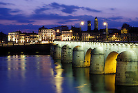 bridge, Macon, France, Burgundy, Saone-et-Loire, Bourgogne, Europe, wine region, The 11th century Pont de St-Laurent spans the Saone River in the city of Macon in the evening.