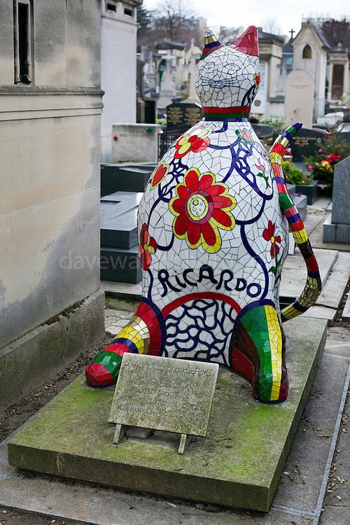 Grave of Ricardo Menon, assistant of artist Niki de Saint Phalle,Montparnasse Cemetery, Paris