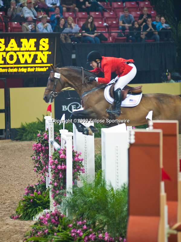 19 April 2009: Christine McCrea  (USA) and Vegas at the Rolex FEI World Cup Final III, first round.