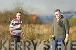 Stephen O'Sullivan and Mike Teahan who battled to quench the gorse fire that threatened their farmland at Coolick, the fire ripped through Kilcummin and Coolick bogs on Tuesday afternoon destroying over six miles of forest and and bog
