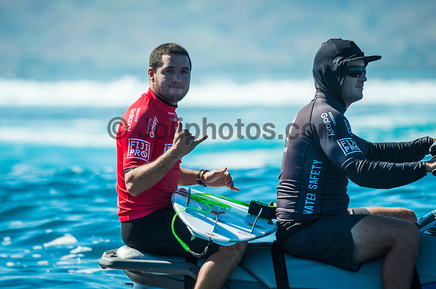 Namotu Island Resort, Nadi, Fiji (Wednesday, June 15 2016):  Adriano de Souza (BRA)   - The Fiji Pro, stop No. 5 of 11 on the 2016 WSL Championship Tour, was recommenced today at Cloudbreak with a new SSW swell in the 6' plus range. The contest had endured a long spell of layaways due to small conditions but it roared back to life with the new swell which is expected to continue for the rest of the waiting period.<br /> The hat of the day was between Taj Burrow (AUS) who has retired for the pro tour and John John Florence (HAW) who is being tipped as a World Champion this year.<br /> Both surfers were counting two 9 pt plus rides in their scores but it was Florence who scraped through finishing Burrows 18 year career on a high.<br /> Photo: joliphotos.com