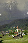 Alpine church, village,forests and mountains.Between Imst and Tarrenz. Imst district,Tyrol, Austria.
