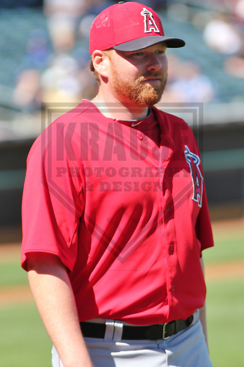 SURPRISE - March 2013: Tommy Hanson (48) of the Los Angeles Angels of Anaheim during a Spring Training game against the Kansas City Royals on March 10, 2013 at Surprise Recreation Campus in Surprise, Arizona. (Photo by Brad Krause). ..