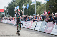 Race winner Maud Kaptheijns (NED/Crelan Charles) crossing the finish line<br /> <br /> cx Telenet Superprestige Gieten 2017 (NED)