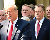 United States Trade Representative Robert Lighthizer, right, listens as US President Donald J. Trump delivers remarks on the United States Mexico Canada Agreement (USMCA) in the Rose Garden of the White House in Washington, DC on Monday, October 1, 2018.  The President  took questions on the agreement and on the Kavanaugh nomination.<br /> Credit: Ron Sachs / CNP