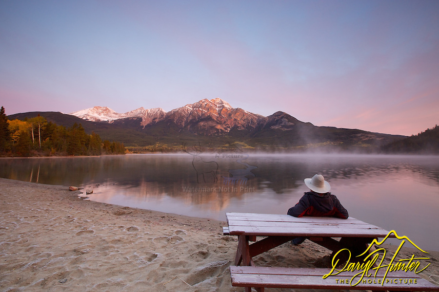 Sunrise Spectator at Pyramid Lake in Jasper  National Park