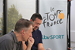 ITV commentary team Gary Imlach and Ned Boulting at the end of Stage 3 of the 104th edition of the Tour de France 2017, running 212.5km from Verviers, Belgium to Longwy, France. 3rd July 2017.<br /> Picture: Eoin Clarke | Cyclefile<br /> <br /> All photos usage must carry mandatory copyright credit (&copy; Cyclefile | Eoin Clarke)