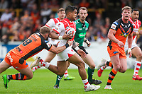 Picture by Alex Whitehead/SWpix.com - 12/05/2018 - Rugby League - Ladbrokes Challenge Cup - Castleford Tigers v St Helens - Mend-A-Hose Jungle, Castleford, England - St Helens' Ben Barba escapes the tackle of Castleford's Paul McShane.