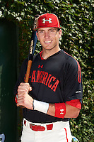 Infielder Luke Dykstra (4) of Westlake High School in Thousand Oaks, California poses for a photo before the Under Armour All-American Game on August 24, 2013 at Wrigley Field in Chicago, Illinois.  (Mike Janes/Four Seam Images)