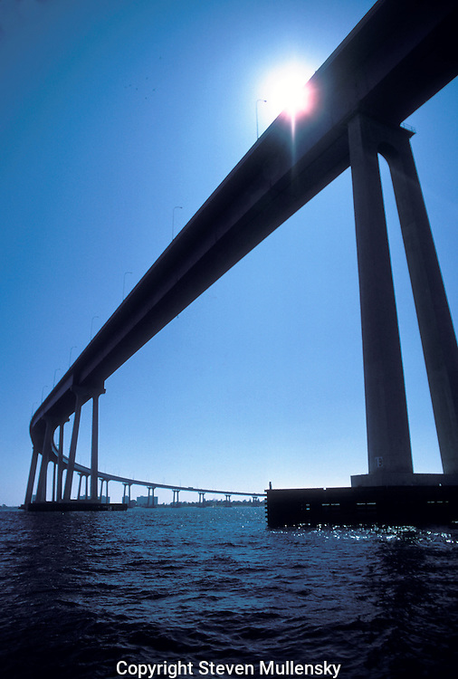 "The San Diego-Coronado Bridge, locally referred to as the Coronado Bridge, is a ""prestressed concrete/steel"" girder bridge, crossing over San Diego Bay in the United States, linking San Diego, California with Coronado, California. The bridge is signed as part of State Route 75."