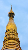 Myanmar, Burma.  Shwedagon Pagoda, Yangon, Rangoon.  The stupa is over 100 meters high.