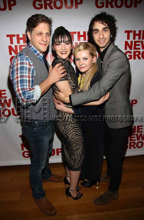 """Joe Tippett, Isabelle Fuhrman, Abigail Breslin, Alex Wolff attend the Opening Night of The New Group World Premiere of """"All The Fine Boys"""" at the The Green Fig Urban Eatery on March 1, 2017 in New York City."""