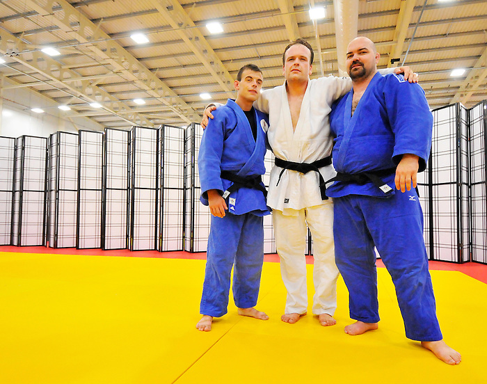 LONDON, ENGLAND – 08/26/2012:  Justin Karn, Tim Rees and Tony Walby of the Canadian Judo Team during a training session at the London 2012 Paralympic Games at Mayesbrook Park SportHouse. (Photo by Matthew Murnaghan/Canadian Paralympic Committee)