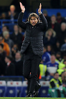Chelsea Manager, Antonio Conte applauds the home fans at the final whistle during Chelsea vs Manchester United, Premier League Football at Stamford Bridge on 5th November 2017