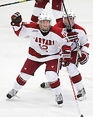 Colin Moore (Harvard - 12), David Valek (Harvard - 22) - The Boston College Eagles defeated the Harvard University Crimson 3-2 on Wednesday, December 9, 2009, at Bright Hockey Center in Cambridge, Massachusetts.