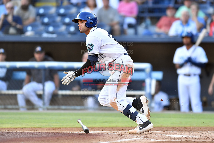 Asheville Tourists Johnny Cresto (17) runs to first base during a game against the Charleston RiverDogs at McCormick Field on August 16, 2019 in Asheville, North Carolina. The Tourists defeated the RiverDogs 12-3. (Tony Farlow/Four Seam Images)