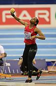 10th February 2019, Arena Birmingham, Birmingham, England; Spar British Athletics Indoor Championships; Sarah Omoregie competes in the Shot Put during Day Two of the Spar Indoor Athletics Championships at Birmingham Arena