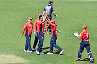 3rd November 2019, Wellington, New Zealand;  English players celebrate the wicket of Blackcaps Tim Siefert during the second T20 International game between New Zealand and England, Westpac Stadium, Wellington, Sunday 3rd November 2019.  - Editorial Use