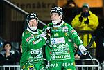 Stockholm 2014-12-02 Bandy Elitserien Hammarby IF - IFK V&auml;nersborg :  <br /> Hammarbys Adam Gilljam jublar med Stefan Erixon efter sitt 4-0 m&aring;l under matchen mellan Hammarby IF och IFK V&auml;nersborg <br /> (Foto: Kenta J&ouml;nsson) Nyckelord:  Elitserien Bandy Zinkensdamms IP Zinkensdamm Zinken Hammarby Bajen HIF IFK V&auml;nersborg jubel gl&auml;dje lycka glad happy